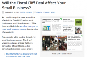 fiscal cliff article screenshot