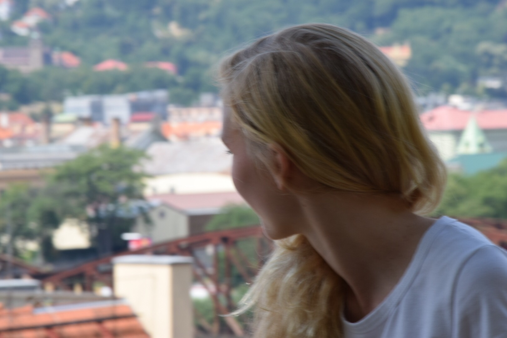 Alex looking down on the Vltava River
