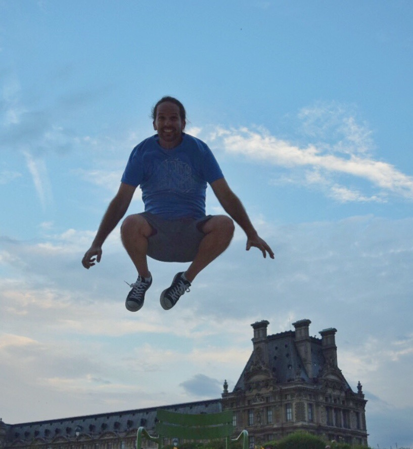 Dustin's evening jump over the Louvre